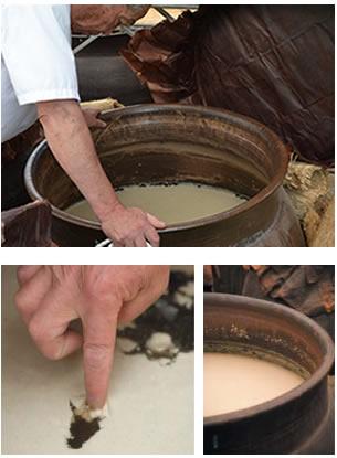 有機玄米くろ酢の仕込み